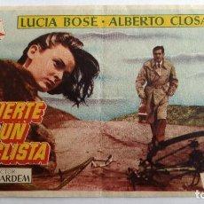 Cine: FOLLETO DE CINE, MUERTE DE UN CICLISTA CON LUCIA BOSE Y ALBERTO CLOSAS, AÑOS 60, SIN PUBLICIDAD . Lote 118635695