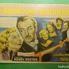 Cine: FOLLETO DE MANO - CINE - FILM - PELÍCULA - UN MAYORDOMO ARISTÓCRATA - 1959. Lote 118746059