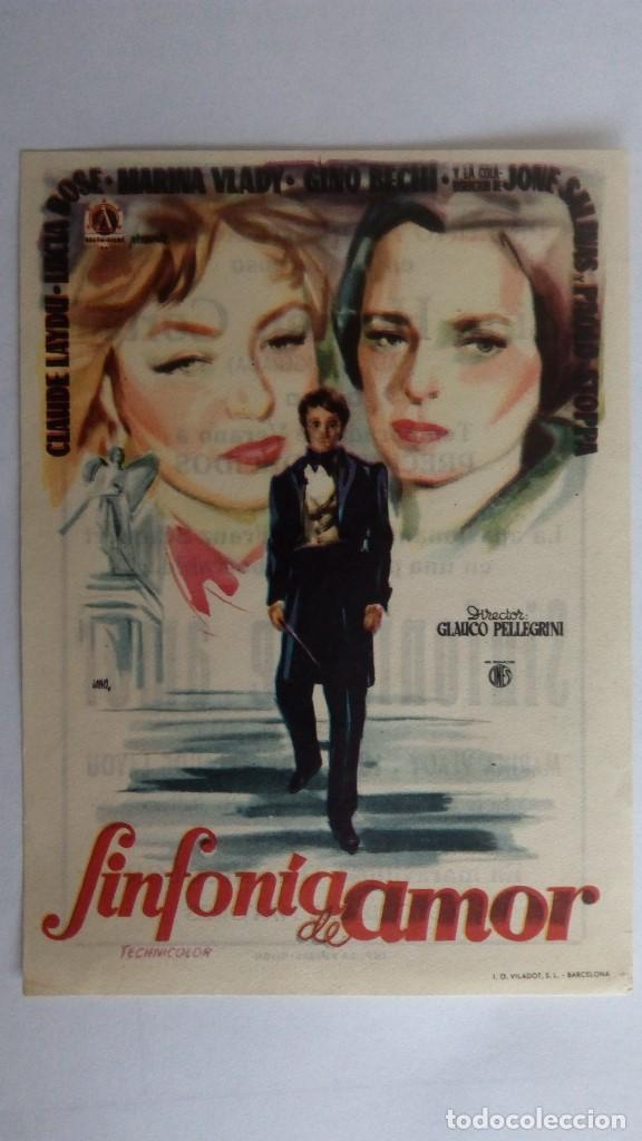 FOLLETO DE CINE, SINFONIA DE AMOR CON LUCIA BOSE , AÑOS 60, CINE HERNAN CORTES, GIJON (Cine - Folletos de Mano - Clásico Español)