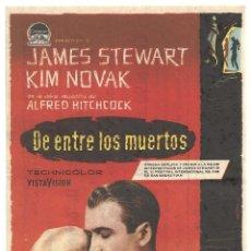 Cine: DE ENTRE LOS MUERTOS VERTIGO PROGRAMA SENCILLO PARAMOUNT ALFRED HITCHCOCK JAMES STEWART KIM NOVAK. Lote 118928815
