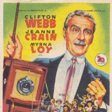 Foglietti di film di film antichi di cinema: 13 POR DOCENA CON CLIFTON WEBB, JEANNE CRAIN, MYRNA LOY AÑO 1952 EN CINEMAS PRINCIPAL Y LA RAMBLA. Lote 118929691