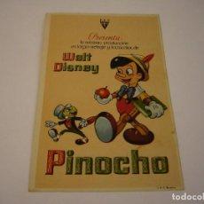 Cine: PROGRAMA. WALT DISNEY, PINOCHO, LA ORIGINAL. Lote 118987743
