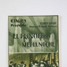Cine: PROGRAMA DE CINE DOBLE-EL PRINCIPE DE MEDIA NOCHE / HENRY GARAT, MONIQUE ROLLAND - CINAES - AÑO 1935. Lote 119008847