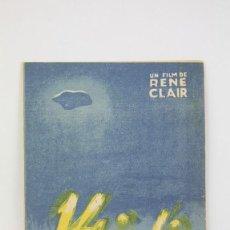 Cine: PROGRAMA DE CINE DOBLE - 14 DE JULIO / RENÉ CLAIR - FILMOFONO - AÑO 1933 - CON PUBLICIDAD. Lote 119011707