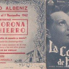 Cine: PROGRAMA DE MANO DOBLE LA CORONA DE HIERRO, 1942. Lote 119043191