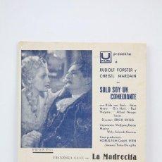 Cine: PROGRAMA DE CINE DOBLE - SOLO SOY UN COMEDIANTE / RUDOLF FORSTER, CHRISTL MARDAIN- U FILMS - AÑOS 30. Lote 119066643