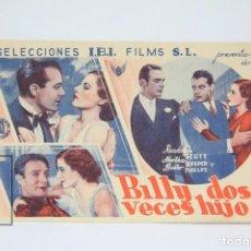Cine: PROGRAMA DE CINE SIMPLE - BILLY DOS VECES / RANDOLPH SCOTT, MARTHA SLEEPER - IBI FILMS - AÑO1935. Lote 119068287