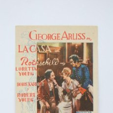 Cine: PROGRAMA DE CINE SIMPLE - LA CASA DE ROTHSCHILD / LORETTA YOUNG, BORIS KARLOFF - 20TH CENTURY. Lote 119070447