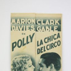 Cine: PROGRAMA DE CINE DOBLE - POLLY LA CHICA DEL CIRCO / MARION DAVIES, CLARK GABLE - METRO GOLDWYN MAYER. Lote 119072411