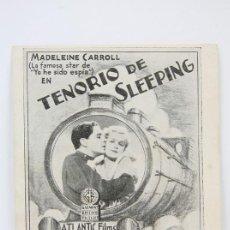 Cine: PROGRAMA DE CINE DOBLE -TENORIO DE SLEEPING / MADELEINE CARROLL - ATLANTIC FILMS - AÑO 1935. Lote 119073863