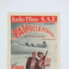 Cine: PROGRAMA DE CINE DOBLE - LA PATRULLA PERDIDA / VICTOR MCLAGLEN, BORIS KARLOFF - RADIO FILMS - 1936. Lote 119079115
