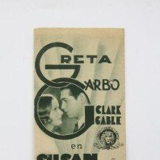 Cine: PROGRAMA DE CINE DOBLE -SUSAN LENOX / GRETA GARBO, CLARK GABLE - METRO GOLDWYN MAYER - AÑO 1933. Lote 119082203
