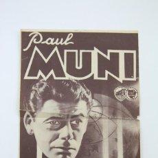 Cine: PROGRAMA DE CINE GRAN FORMATO - EL MUNDO CAMBIA / PAUL MUNI - WARNER BROS - AÑO 1934. Lote 119084955