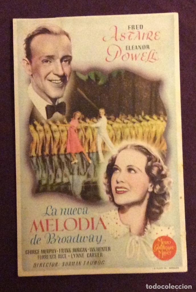 FOLLETO DE MANO LA NUEVA MELODIA DE BROADWAY FRED ASTAIRE. PUBLICIDAD CINE PERELLO (Cine - Folletos de Mano - Musicales)