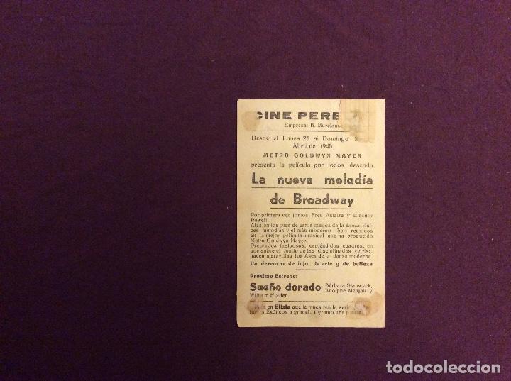 Cine: FOLLETO DE MANO LA NUEVA MELODIA DE BROADWAY FRED ASTAIRE. PUBLICIDAD CINE PERELLO - Foto 2 - 119330843