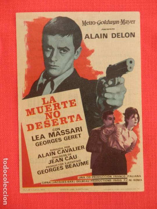 LA MUERTE NO DESERTA, IMPECABLE SENCILLO, ALAIN DELON, CON PUBLI MODERNO 1965 (Cine - Folletos de Mano - Acción)