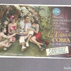 Cine: PROGRAMA DE CINE. LA REINA DE COBRA. CINE RIALTO. VER DORSO. Lote 119406991
