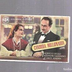 Cine: PROGRAMA DE CINE. CANDIDA MILLONARIA. TEATRO LLORENS. 1946. VER DORSO. Lote 119426275