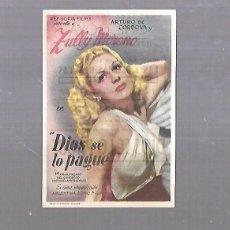 Cine: PROGRAMA DE CINE. DIOS SE LO PAGUE. CINE GOYA. 1949. VER DORSO. Lote 119430427