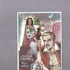 Cine: PROGRAMA DE CINE. EL CONDE DE MONTE CRISTO. CINEMA QUEVEDO. VER DORSO. Lote 119432887