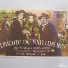 Cine: PROGRAMA DE CINE. EL PUENTE DE SAN LUIS REY. TEATRO LLORENS. VER DORSO. Lote 119436639