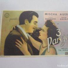 Cine: PROGRAMA DE CINE. 3 PAREJAS. CINE LA ESTRELLA. IMP. F.VERA, SEVILLA. VER DORSO. Lote 119436867