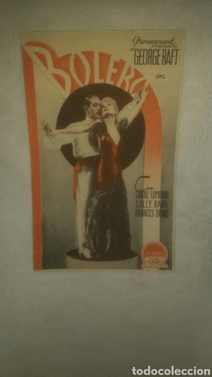 PROGRAMA DE CINE. BOLERO. TEATRO SEQUEIRA. 1935. (Cine - Folletos de Mano - Musicales)