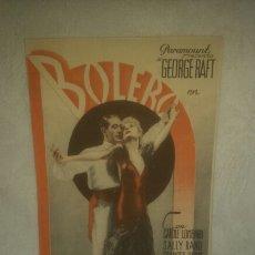 Cine: PROGRAMA DE CINE. BOLERO. TEATRO SEQUEIRA. 1935.. Lote 150201866