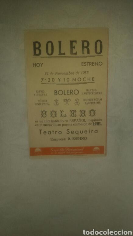 Cine: Programa de cine. Bolero. Teatro Sequeira. 1935. - Foto 3 - 150201866