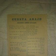 Cine: PROGRAMA LETRA PELÍCULA CUESTA ABAJO, DE CARLOS GARDEL. TEATRO SEQUEIRA. 1935.. Lote 119567680