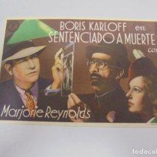 Cine: PROGRAMA DE CINE. S/P. SENTENCIADO A MUERTE. Lote 119620555
