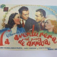 Cine: PROGRAMA DE CINE. LA AVENTURERA DEL PISO DE ARRIBA. SALON ANITA. VER DORSO. Lote 119937431