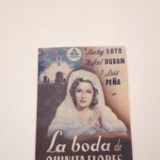 Cine: LA BODA DE QUINITA FLORES, MUY RARO, MÁLAGA. Lote 120039283
