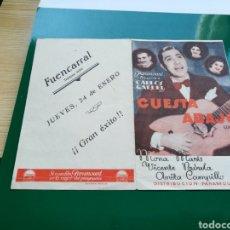 Cine: PROGRAMA DE CINE DOBLE. CUESTA ABAJO. CARLOS GARDEL. AÑOS 30. CINE FUENCARRAL DE MADRID. Lote 120131560
