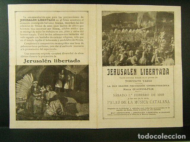 JERUSALEN LIBERTADA-TORCUATO TASSO-GUAZZONI FILM-PALAU DE LA MUSICA CATALANA BARCELONA-AÑO 1919. (Cine - Folletos de Mano - Acción)