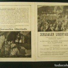 Cine: JERUSALEN LIBERTADA-TORCUATO TASSO-GUAZZONI FILM-PALAU DE LA MUSICA CATALANA BARCELONA-AÑO 1919.. Lote 120135151