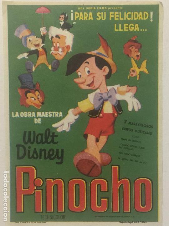 PROGRAMA DE CINE PINOCHO DE WALT DISNEY. SIN PUBLICIDAD. (Cine - Folletos de Mano - Infantil)