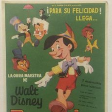 Cine: PROGRAMA DE CINE PINOCHO DE WALT DISNEY. SIN PUBLICIDAD.. Lote 120139303