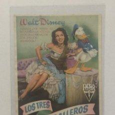 Cine: PROGRAMA DE CINE LOS TRES CABALLEROS DE WALT DISNEY. SIN PUBLICIDAD.. Lote 120139695