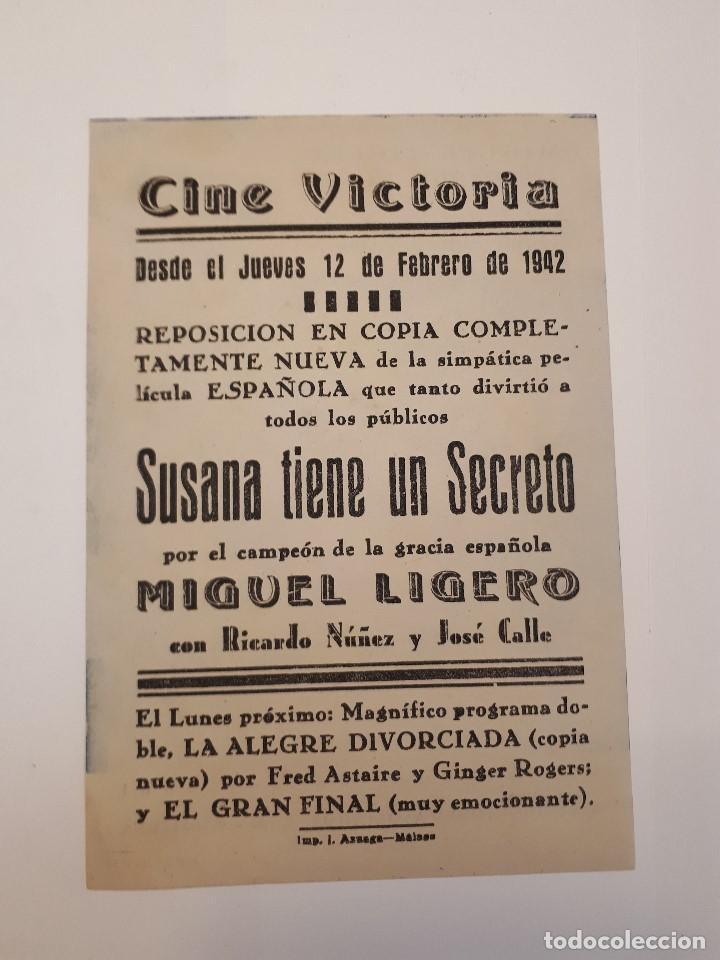 Cine: Susana tiene un secreto. Cine Victoria, Málaga. 1942. - Foto 2 - 120152291
