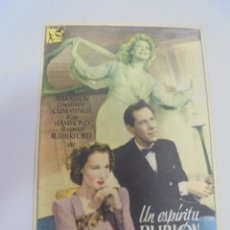 Cine: PROGRAMA DE CINE. UN ESPIRITU BURLON. TEATRO RIALTO. 1948. VER DORSO. Lote 120187427
