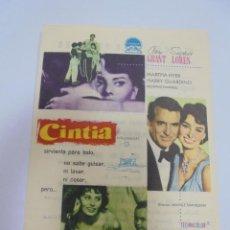 Cine: PROGRAMA DE CINE. CINTIA. CINE FELIPE II. VER DORSO. Lote 120275975