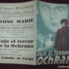 Cine: PROGRAMA DE CINE. BAJO EL TERROR DE LA OCHRANA. 1937.. Lote 120399647