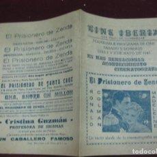 Cine: PROGRAMA DE CINE. EL PRISIONERO DE ZENDA. RONALD COLMAN. 1943. CINE IBERIA SAN FELIU DE LLOBREGAT.. Lote 120409695