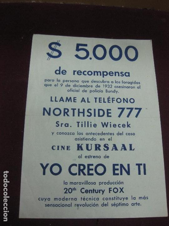 PROGRAMA DE CINE. YO CREO EN TI. 1948. 20TH. CENTURY FOX. (Cine - Folletos de Mano - Suspense)