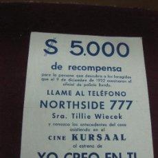 Cine: PROGRAMA DE CINE. YO CREO EN TI. 1948. 20TH. CENTURY FOX.. Lote 120430559