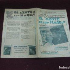 Cine: PROGRAMA DE CINE. EL AZOTE DE LOS MARES. JOHN BARRYMORE. 1930. CINE DEFENSA. URUGUAY.. Lote 120434223