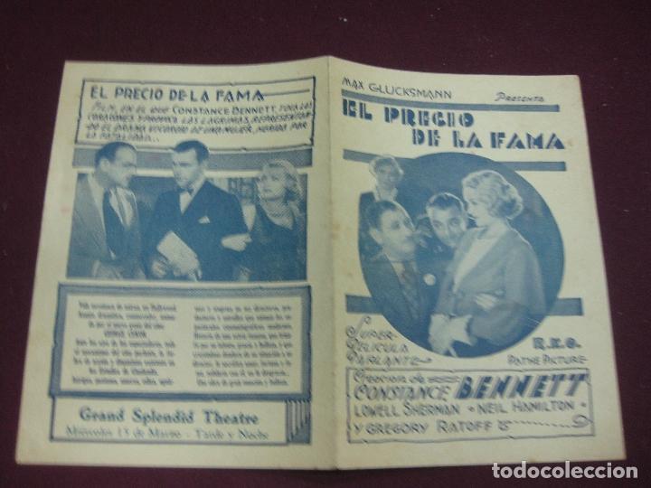 PROGRAMA DE CINE. EL PRECIO DE LA FAMA. CONSTANCE BENNETT. GRAND ESPLENDID THEATRE. URUGUAY. (Cine - Folletos de Mano - Drama)
