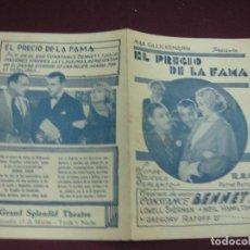 Cine: PROGRAMA DE CINE. EL PRECIO DE LA FAMA. CONSTANCE BENNETT. GRAND ESPLENDID THEATRE. URUGUAY.. Lote 120436923