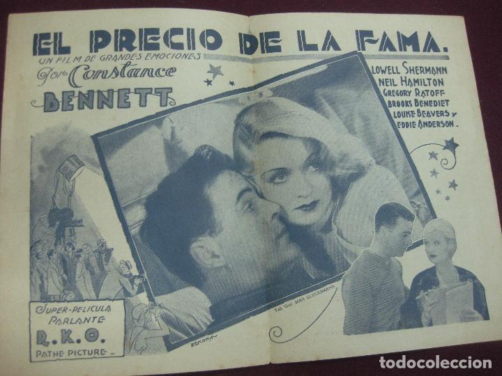 Cine: PROGRAMA DE CINE. EL PRECIO DE LA FAMA. CONSTANCE BENNETT. GRAND ESPLENDID THEATRE. URUGUAY. - Foto 2 - 120436923